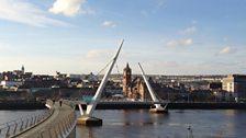 The Peace Bridge across The River Foyle
