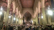 A packed church for the service