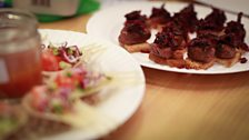 Canapes: 1990s - Seared beef fillet with beetroot