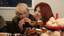 Sarah and Nicola tuck into the cakes