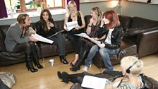 All he girls have a go at reading some of the entertainment news