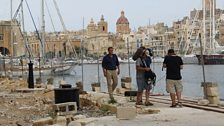 Behind the Ssenes - Filming a piece to camera in Senglea...