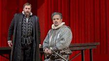 """Matthew Rose as Talbot and Matthew Polenzani as Leicester in Donizetti's """"Maria Stuarda."""""""