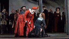"Elza van den Heever as Elisabetta and Joyce DiDonato as the title character in Donizetti's ""Maria Stuarda."""