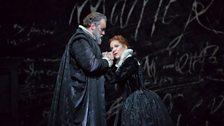 "Matthew Rose as Talbot and Joyce DiDonato as the title character of Donizetti's ""Maria Stuarda."""