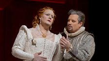 "Elza van den Heever as Elisabetta and Matthew Polenzani as Leicester in Donizetti's ""Maria Stuarda."""
