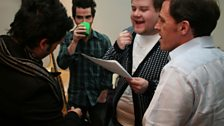James and Rob rehearse with Adam