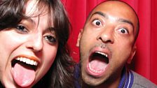 Target and Madam X get their pic taken in the photobooth before their DJ sets