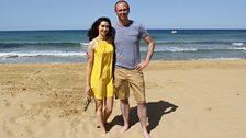 Aoibhinn and Joe on the beach in Malta