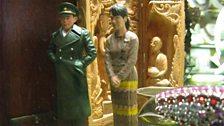 Models of General Aung San and his daughter, Aung San Suu Kyi Strand Hotel gift shop, Rangoon