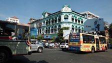 Busy street scene, downtown Rangoon