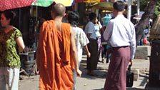 Monk on the streets of Rangoon