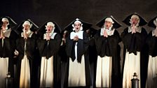"""Juan Diego Flórez (centre) as Count Ory in Rossini's """"Le Comte Ory."""""""
