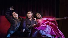 """Juan Diego Flórez as Count Ory, Karine Deshayes as Isolier and Pretty Yende as Countess Adèle in Rossini's """"Le Comte Ory."""""""