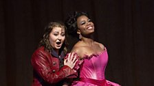 """Karine Deshayes as Isolier and Pretty Yende as Countess Adèle in Rossini's """"Le Comte Ory."""""""