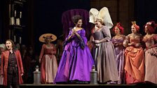 """Karine Deshayes as Isolier, Pretty Yende as Countess Adèle, and Susanne Resmark as Ragonde in Rossini's """"Le Comte Ory."""""""