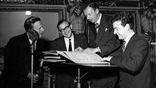Benjamin Britten at a recording of Billy Budd