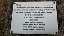Flood memorial plaque