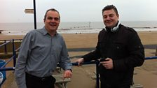 Melvyn Prior and Scott Dalton on Mablethorpe seafront, ready to go on air