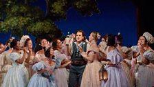 "Matthew Polenzani (centre) as Nemorino in Donizetti's ""L'Elisir d'Amore."""