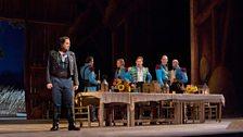 "Matthew Polenzani as Nemorino and Mariusz Kwiecien as Sergeant Belcore in Donizetti's ""L'Elisir d'Amore."""