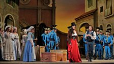 "Anna Netrebko as Adina and Matthew Polenzani as Nemorino in Donizetti's ""L'Elisir d'Amore."""