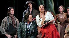 "Matthew Polenzani as Nemorino and Anna Netrebko as Adina in Donizetti's ""L'Elisir d'Amore."""