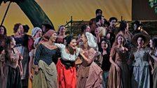 """Anna Netrebko (centre) as Adina in Donizetti's """"L'Elisir d'Amore."""""""