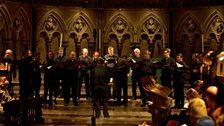 De Profundis from Cambridge in action, singing Morales in St John's College Chapel, taken by Mark (Cambridge)