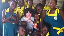 Jane with pupils from Queensland school in the Agbogloshie slum in Accra, Ghana