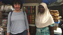 Jane with Mariama in the Agbogbloshie slum, Accra, Ghana
