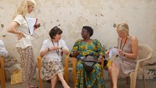Jane with Mercy Ahun and Rebecca Treadway, Comic Relief and reporter Angela Robson.