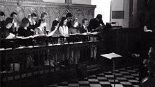 Peter Phillips and the Tallis Scholars in an early rehearsal at Magdalen College, Oxford 1977