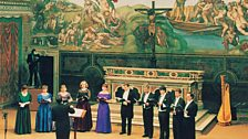 Tallis Scholars performing in the Sistine Chapel (April 1994) to celebrate the complete restoration of the Michelangelo frescos.