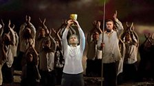 "Jonas Kaufmann (centre) as the title character of Wagner's ""Parsifal."""