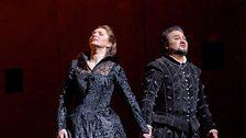 "Barbara Frittoli as Elisabeth de Valois and Ramón Vargas in the title role of Verdi's ""Don Carlo."""