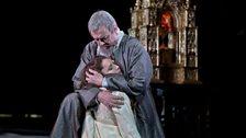 """Ferruccio Furlanetto as Philip II and Barbara Frittoli as Elisabeth de Valois in Verdi's """"Don Carlo."""""""