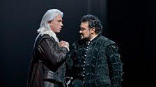 "Dmitri Hvorostovsky as Rodrigo and Ramón Vargas in the title role of Verdi's ""Don Carlo."""