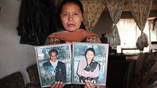 Penamaya Lama with photographs of herself and husband Arjun