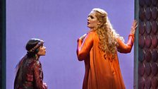 "Ginger Costa-Jackson as Smaragdi and Eva-Maria Westbroek in the title role of Zandonai's ""Francesca da Rimini."""