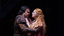"Mark Delavan as Gianciotto and Eva-Maria Westbroek in the title role of Zandonai's ""Francesca da Rimini."""