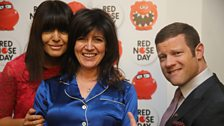 Pyjama Woman Emma Freud with Claudia Winkleman and Dermot O'Leary