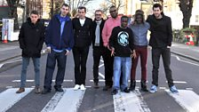 DJs and artists on the iconic Abbey Road pelican crossing