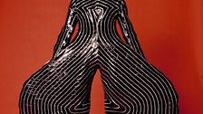Striped bodysuit for Aladdin Sane tour, 1973 - Design by Kansai Yamamoto