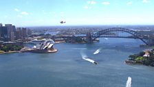 Air ambulance over Sydney Harbour Bridge