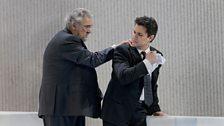 """Plácido Domingo as Giorgio Germont and Saimir Pirgu as Alfredo in Verdi's """"La Traviata."""""""