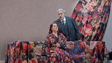 "Diana Damrau as Violetta and Plácido Domingo as Giorgio Germont in Verdi's ""La Traviata."""