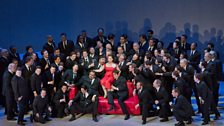 "A scene from Act I of Verdi's ""La Traviata"" with Diana Damrau (centre) as Violetta."
