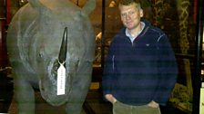 Tom Heap with Rosie the Rhino at Ipswich Museum