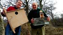 Raymond and Roy Dennis with birdcages